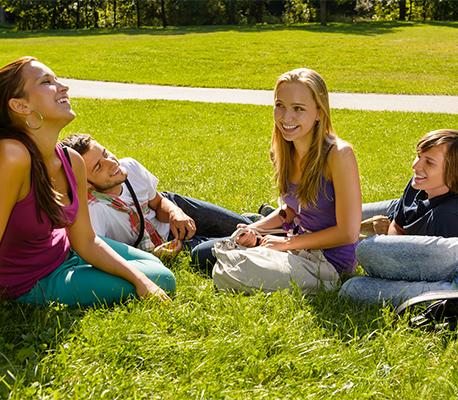 kids talking outside