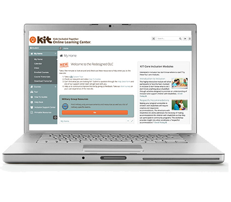 Laptop with KIT Online Learning Center portal on screen.