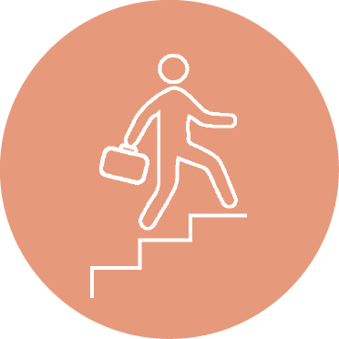 icon of stick figure walking up stairs