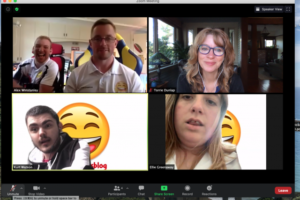 Torrie Dunlap on Zoom call with people from Happy Smiles Blog UK
